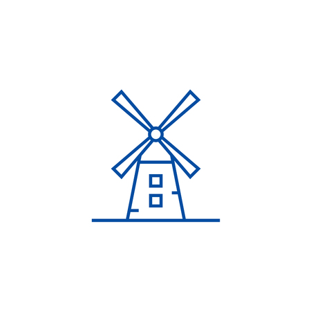 Windmill illustration line concept icon. Windmill illustration flat  vector website sign, outline symbol, illustration. Illustration