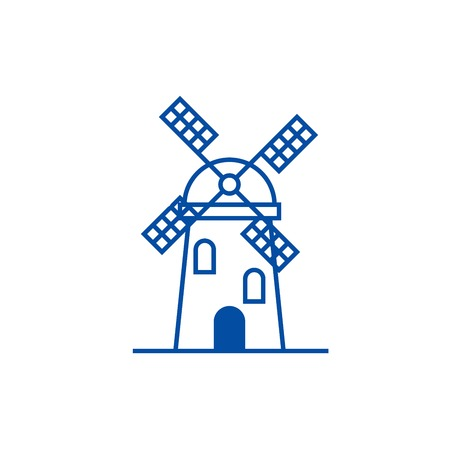 Windmill sign line concept icon. Windmill sign flat  vector website sign, outline symbol, illustration. Ilustração