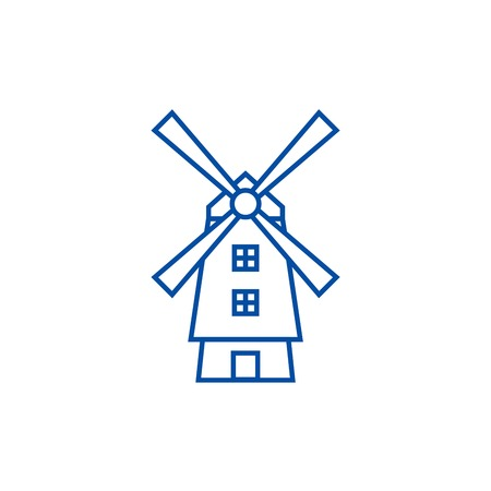 Windmill,holland line concept icon. Windmill,holland flat  vector website sign, outline symbol, illustration. Stock Illustratie