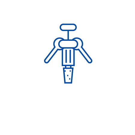 Wine corkscrew line concept icon. Wine corkscrew flat  vector website sign, outline symbol, illustration. Illustration