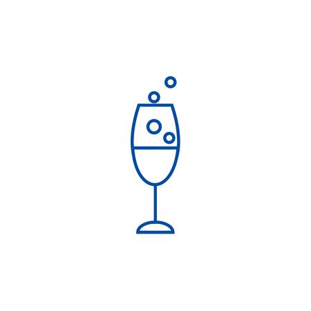Wine glass line concept icon. Wine glass flat  vector website sign, outline symbol, illustration. Illustration