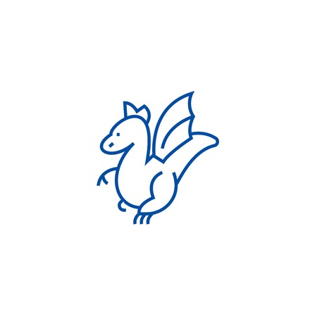Winged dragon line concept icon. Winged dragon flat  vector website sign, outline symbol, illustration.