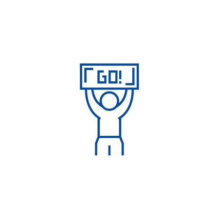 Winner, go line concept icon. Winner, go flat  vector website sign, outline symbol, illustration.