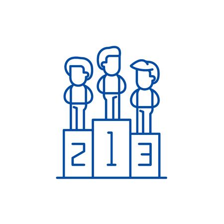 Winning team line concept icon. Winning team flat  vector website sign, outline symbol, illustration.