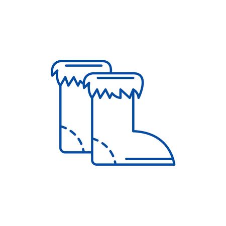 Winter boots line concept icon. Winter boots flat  vector website sign, outline symbol, illustration. Archivio Fotografico - 120069122