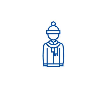 Winter clothing line concept icon. Winter clothing flat  vector website sign, outline symbol, illustration. Illustration