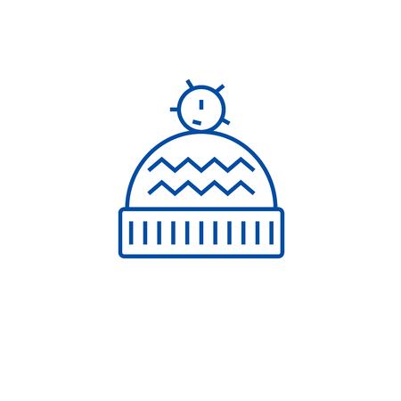 Winter hat line concept icon. Winter hat flat  vector website sign, outline symbol, illustration. Illustration