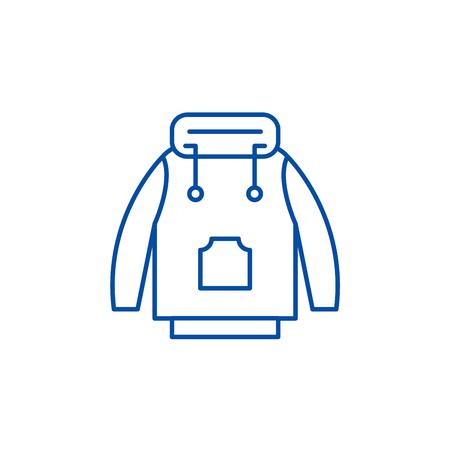 Winter jacket line concept icon. Winter jacket flat  vector website sign, outline symbol, illustration. Banque d'images - 120117276