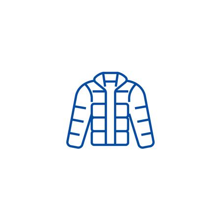 Winter jacket,downjacket,outdoor clothes line concept icon. Winter jacket,downjacket,outdoor clothes flat  vector website sign, outline symbol, illustration.