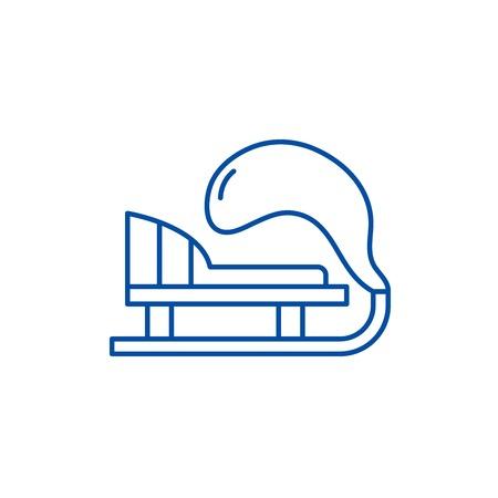 Winter sled line concept icon. Winter sled flat  vector website sign, outline symbol, illustration. Illustration
