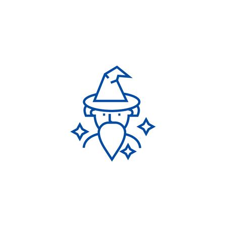 Wizard, sorcerer line concept icon. Wizard, sorcerer flat  vector website sign, outline symbol, illustration.
