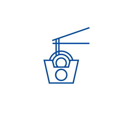 Wok noodles box line concept icon. Wok noodles box flat  vector website sign, outline symbol, illustration.