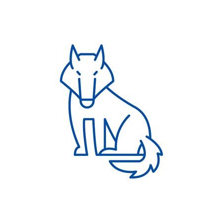 Wolf line concept icon. Wolf flat  vector website sign, outline symbol, illustration. Illustration