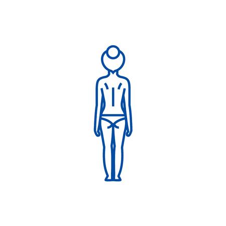 Woman body back line concept icon. Woman body back flat  vector website sign, outline symbol, illustration. Banque d'images - 120069379