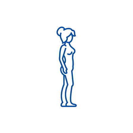 Woman body profile,female silhouette line concept icon. Woman body profile,female silhouette flat  vector website sign, outline symbol, illustration.