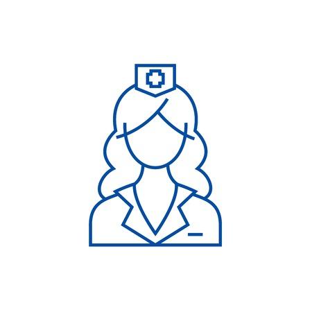Woman doctor, nurse line concept icon. Woman doctor, nurse flat  vector website sign, outline symbol, illustration.