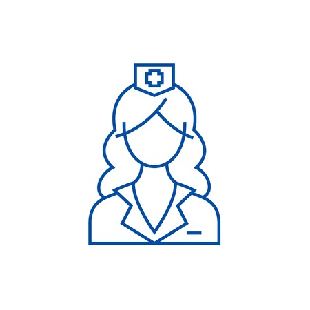 Woman doctor, nurse line concept icon. Woman doctor, nurse flat  vector website sign, outline symbol, illustration.