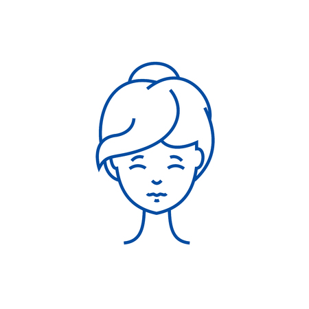 Woman face front line concept icon. Woman face front flat  vector website sign, outline symbol, illustration.