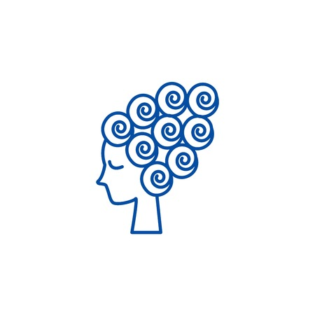 Woman face, female beauty,hair curler line concept icon. Woman face, female beauty,hair curler flat  vector website sign, outline symbol, illustration.
