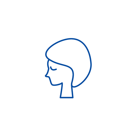 Woman face, in spa line concept icon. Woman face, in spa flat  vector website sign, outline symbol, illustration.