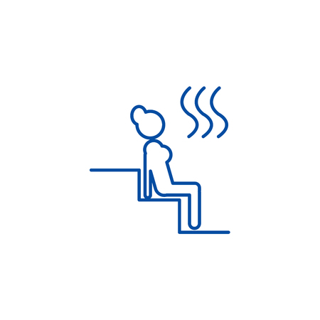 Woman in sauna line concept icon. Woman in sauna flat  vector website sign, outline symbol, illustration.