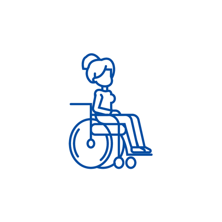 Woman in wheelchair for disabled people line concept icon. Woman in wheelchair for disabled people flat  vector website sign, outline symbol, illustration.  イラスト・ベクター素材
