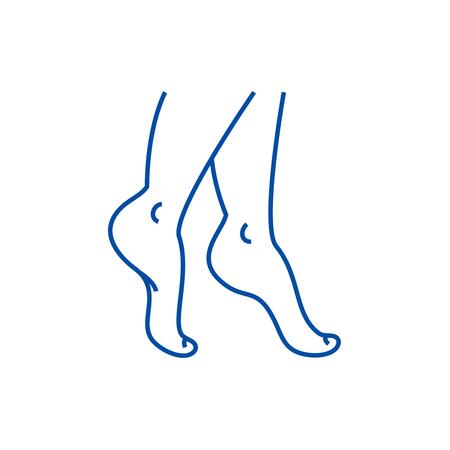 Woman legs line concept icon. Woman legs flat  vector website sign, outline symbol, illustration. Archivio Fotografico - 120117294
