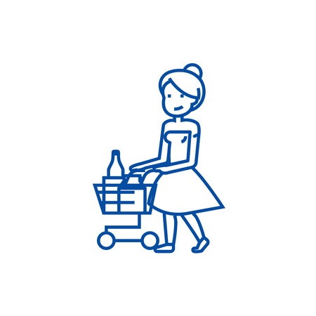 Woman shopping in supermarket with cart line concept icon. Woman shopping in supermarket with cart flat  vector website sign, outline symbol, illustration.