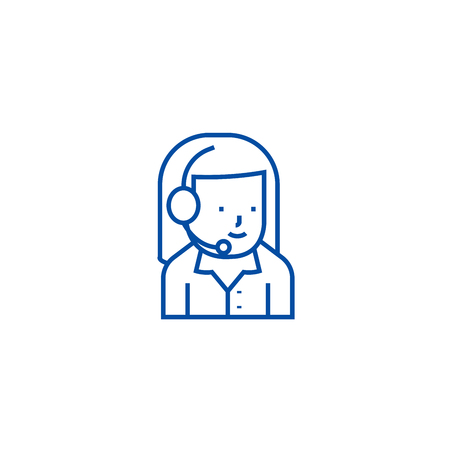 Woman support with headset line concept icon. Woman support with headset flat  vector website sign, outline symbol, illustration.