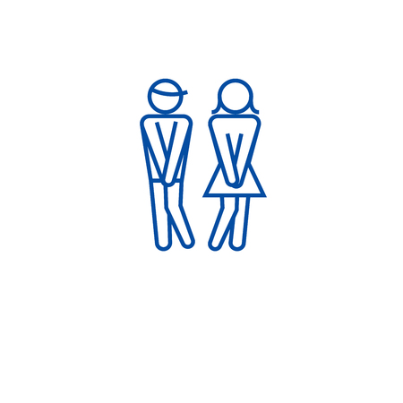 Woman wc, man toilet line concept icon. Woman wc, man toilet flat vector website sign, outline symbol, illustration.