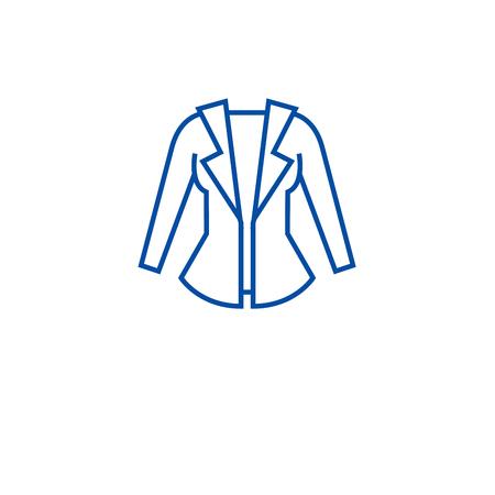 Women jacket line concept icon. Women jacket flat  vector website sign, outline symbol, illustration. Illustration