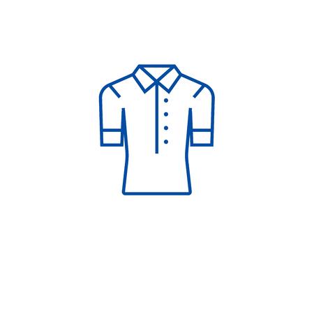 Women polo line concept icon. Women polo flat  vector website sign, outline symbol, illustration. Standard-Bild - 120069705