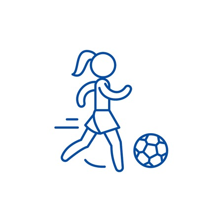 Womens football line concept icon. Womens football flat  vector website sign, outline symbol, illustration.