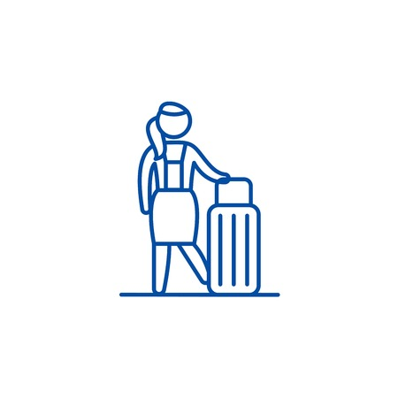 Womens travel line concept icon. Womens travel flat  vector website sign, outline symbol, illustration.