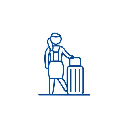 Womens travel line concept icon. Womens travel flat  vector website sign, outline symbol, illustration. Foto de archivo - 120069731
