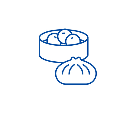 Wonton, dumplings line concept icon. Wonton, dumplings flat  vector website sign, outline symbol, illustration.