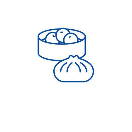 Wonton, dumplings line concept icon. Wonton, dumplings flat  vector website sign, outline symbol, illustration.