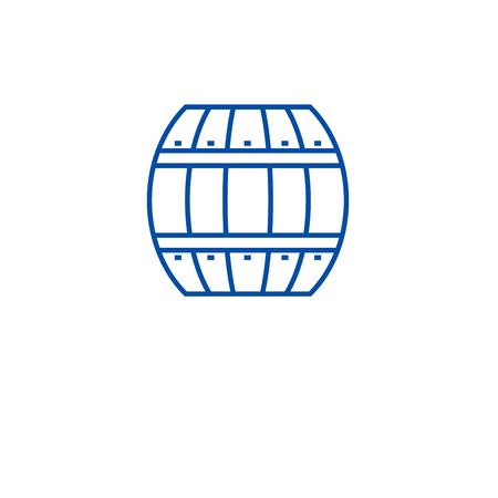 Wood barrel line concept icon. Wood barrel flat  vector website sign, outline symbol, illustration.