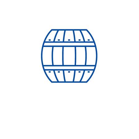 Wood barrel line concept icon. Wood barrel flat  vector website sign, outline symbol, illustration.