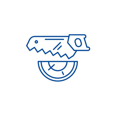 Wood saw line concept icon. Wood saw flat  vector website sign, outline symbol, illustration. Foto de archivo - 120069735