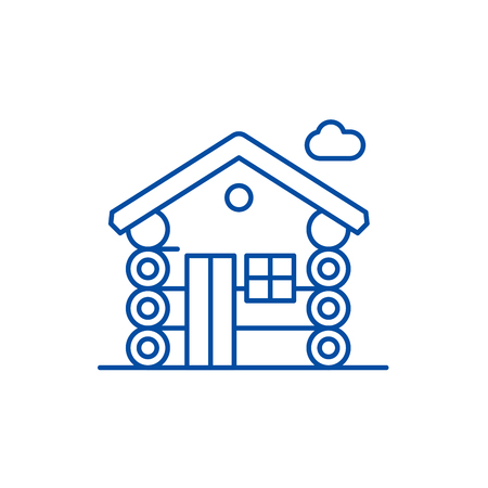 Wooden house line concept icon. Wooden house flat  vector website sign, outline symbol, illustration.