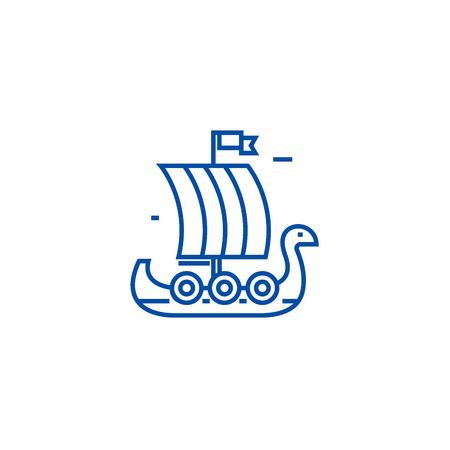 Wooden viking ship line concept icon. Wooden viking ship flat  vector website sign, outline symbol, illustration.
