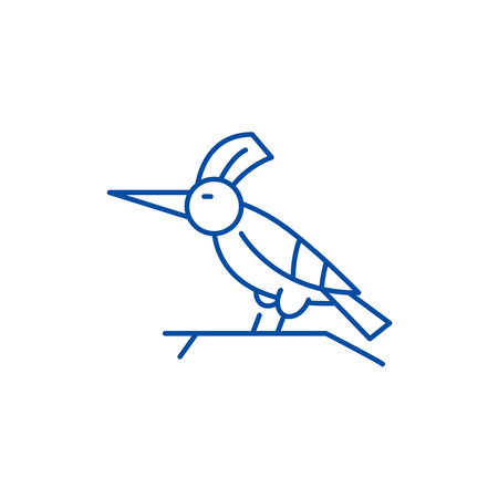 Woodpecker line concept icon. Woodpecker flat  vector website sign, outline symbol, illustration. Illustration