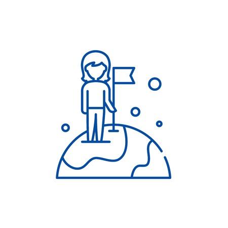 World champion line concept icon. World champion flat  vector website sign, outline symbol, illustration. 일러스트