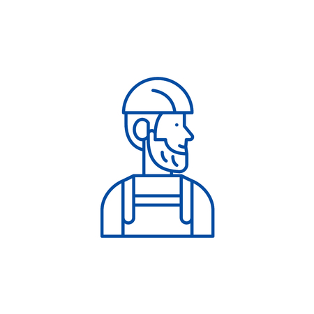 Worker line concept icon. Worker flat  vector website sign, outline symbol, illustration. Standard-Bild - 120055155