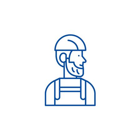 Worker line concept icon. Worker flat  vector website sign, outline symbol, illustration. Ilustracja