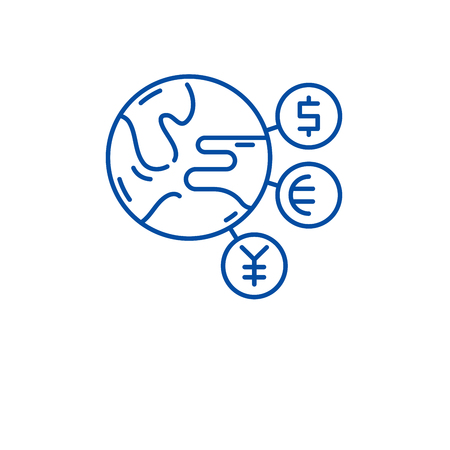World currency line concept icon. World currency flat  vector website sign, outline symbol, illustration. Illustration