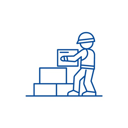 Worker builder taking bricks line concept icon. Worker builder taking bricks flat  vector website sign, outline symbol, illustration. Foto de archivo - 120055157
