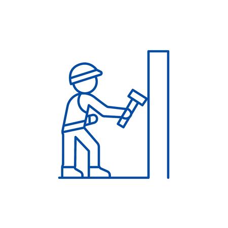 Worker builder with hammer line concept icon. Worker builder with hammer flat  vector website sign, outline symbol, illustration.