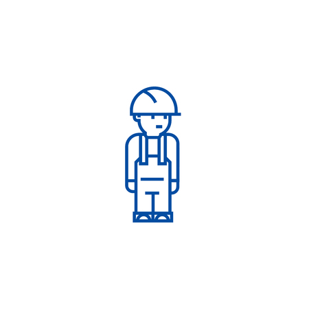 Worker engineer line concept icon. Worker engineer flat  vector website sign, outline symbol, illustration. Illustration